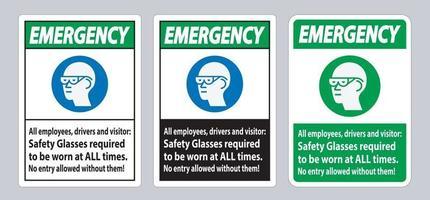 panneau d'urgence tous les employés, conducteurs et visiteurs, les lunettes de sécurité doivent être portées en tout temps vecteur
