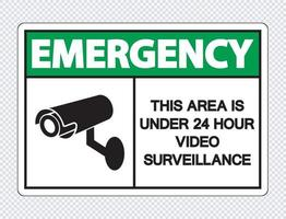 urgence cette zone est sous surveillance vidéo 24 heures sur 24 vecteur
