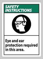 les consignes de sécurité signalent les protections oculaires et auditives requises dans cette zone vecteur