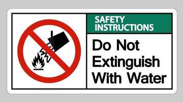Les consignes de sécurité ne s'éteignent pas avec le signe du symbole de l'eau sur fond blanc vecteur