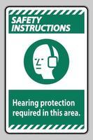 consignes de sécurité signe ppe protection auditive nécessaire dans cette zone avec symbole vecteur