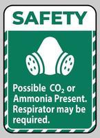 consignes de sécurité signe ppe possible présence de CO2 ou d'ammoniaque respirateur peut être nécessaire vecteur