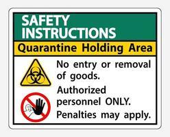 consignes de sécurité signe de la zone de détention de quarantaine vecteur