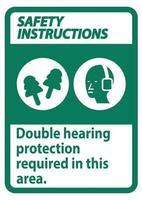 les consignes de sécurité signent une double protection auditive requise dans cette zone avec des cache-oreilles et des bouchons d'oreille vecteur