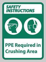 les instructions de sécurité signent le ppe requis dans la zone de concassage vecteur