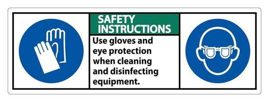 Les instructions de sécurité utilisent des gants et un panneau de protection des yeux sur fond blanc vecteur