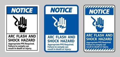 panneau d'avertissement arc électrique et danger d'électrocution ppe approprié requis vecteur