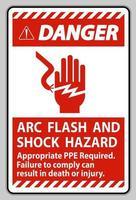signe de danger arc électrique et risque d'électrocution ppe approprié requis vecteur