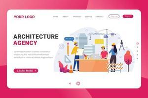illustration vectorielle de page de destination modèle architecture agence vecteur