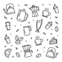 temps de café doodle icônes vectorielles dessinés à la main pour fond d'écran vecteur