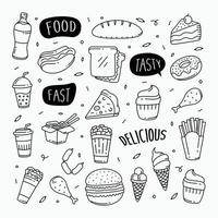 fast food doodles éléments d'objet de style art ligne dessinés à la main vecteur