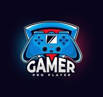 logo de joueur avec manette de jeu vecteur