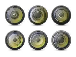 ensemble d'objectifs de caméra vecteur