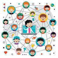 concept d'apprentissage en ligne avec personnage de dessin animé vecteur