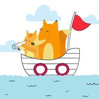 Sailor Fox maman et bébé Vector Illustration