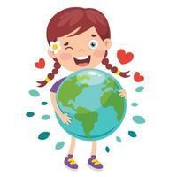 jour de la terre avec personnage de dessin animé vecteur