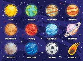 planètes colorées du système solaire vecteur