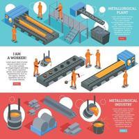 illustration vectorielle de bannières isométriques de l & # 39; industrie sidérurgique vecteur