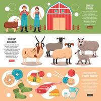moutons élevage bannières plates vector illustration