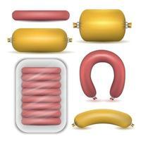 produits de saucisse isolés ensemble illustration vectorielle vecteur
