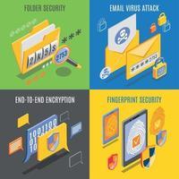 Internet menaces 2x2 design concept illustration vectorielle vecteur