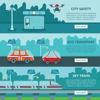 illustration vectorielle de bannières de ville intelligente éco vecteur