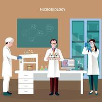 illustration vectorielle de scientifiques personnes composition plate vecteur
