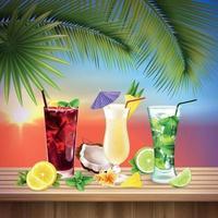 cocktails mis illustration vectorielle de composition réaliste vecteur