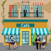 illustration vectorielle de gens de déjeuner daffaires plat composition vecteur