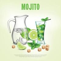 illustration vectorielle de cocktails verts composition réaliste vecteur