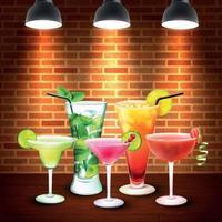 cocktails illustration vectorielle de composition colorée réaliste vecteur