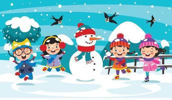 enfants drôles jouant en hiver vecteur