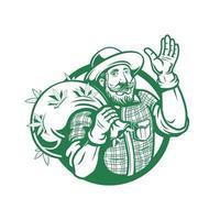 vecteur de modèle de logo de fermier de cannabis