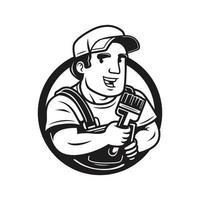 peintre avec un logo vintage pinceau vecteur