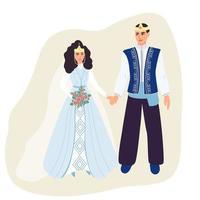 les jeunes mariés en costumes nationaux arméniens. mari et femme arméniens. illustration vectorielle en style cartoon plat vecteur