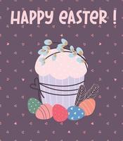 carte de voeux joyeuses Pâques. gâteau de Pâques, œufs peints, brindilles de saule. illustration vectorielle plane vecteur