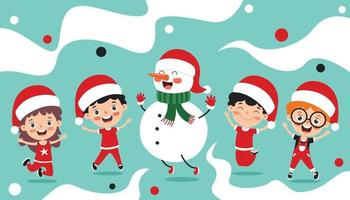 conception de cartes de voeux de Noël avec des personnages de dessins animés vecteur