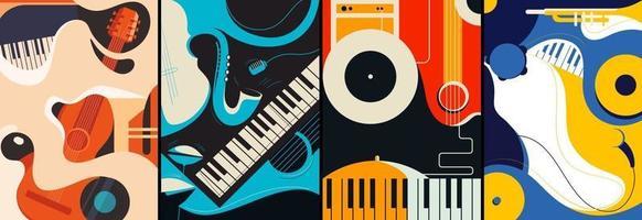 collection d'affiches de jazz vecteur