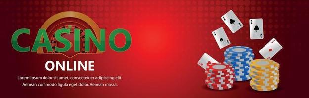 jeu de jeu réaliste en ligne de casino vip avec des cartes de jeu vectorielles et des jetons de casino vecteur