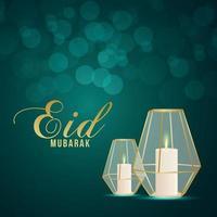 festival islamique eid mubarak avec lanterne à bougie réaliste sur fond créatif vecteur