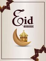 festival islamique réaliste avec lanterne islamique et lune sur fond blanc élégant vecteur