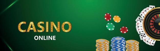 jeu de casino en ligne avec des cartes à jouer vecteur créatif roue de roulette et jetons de casino
