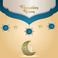 ramadan kareem motif réaliste lune et lanterne en cristal sur fond créatif vecteur