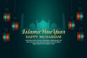 joyeux fond islamique muharram avec lanterne créative sur fond vecteur