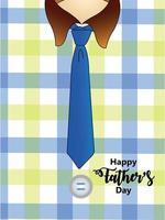bonne fête des pères carte de voeux avec cravate sur fond de chemise vecteur