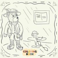 Livre de coloriage pour les jeunes enfants illustration de contour dans le style de doodle ours en peluche dans le costume national de l'allemand vecteur