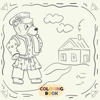 Livre de coloriage pour les jeunes enfants illustration de contour dans le style de doodle ours en peluche dans le costume national russe vecteur