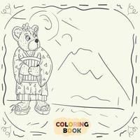 Livre de coloriage pour les jeunes enfants illustration de contour en fille d'ours en peluche de style doodle en costume de geisha kimono japonais national vecteur