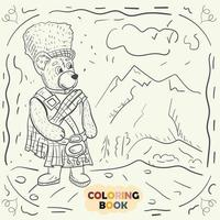 Livre de coloriage pour les jeunes enfants illustration de contour dans le style de doodle ours en peluche dans le costume national de l'écossais vecteur