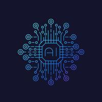 intelligence artificielle ou technologie IA vecteur